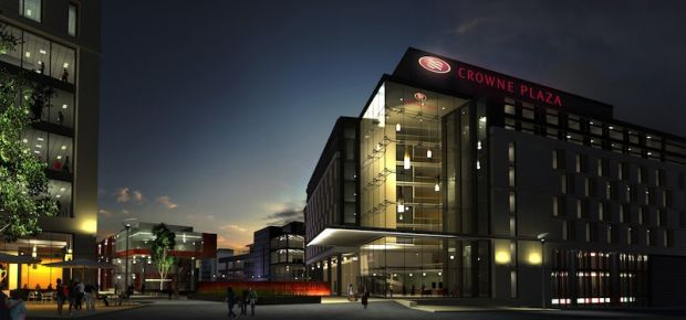 Stephenson Quarter project featuring impression of Crowne Plaza Hotel - courtesy of Silverlink Holdi