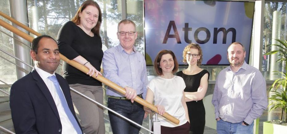 L-R Kevin Maloney (Muckle), Laura Farnworth and Graham Moore (both Atom Bank), Louise Duffy and Emma