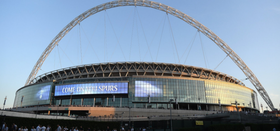 Wembley Stadium before one of Spurs' Europa League ties. Image: THFC