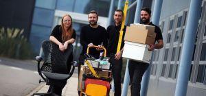 Paula Addison of UK Steel Enterprise lends a helping hand as Martin Wilson, Rob Wilson and Adam Gall