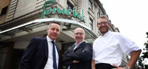 Fenwick Head of Food and Catering Rhys McKinnell, North East restauranteur Terry Laybourne and Fenwi