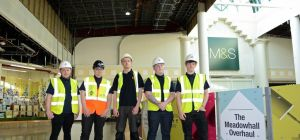 New recruit apprentices on site at Meadowhall for the £60m refurbishment.