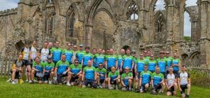 The Baker Tilly riders take a break at Bolton Abbey