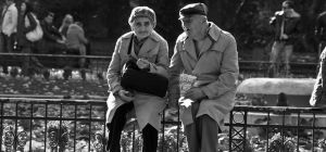 old couple in black and white