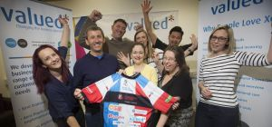 Staff from Valued Group give Alan McGee a big send off before his cycling challenge