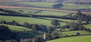 Brendon Barton & Church from Countisbury Common