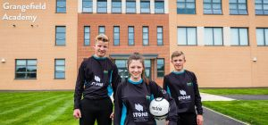 Alex McArthur, Lara Hebner and Curtis Larsen from the Grangefield Academy in their new kit