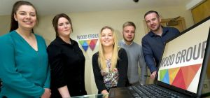 Management accountant at WG IS, Mark Hudson with apprentices Emma Smith, Shannon Gibson, Bethanie Br