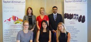Taylor&Emmet's HR manager, Sharna Poxon (centre back), with trainee solicitors (back row L-R) Caroli