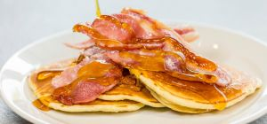 Ultimate Cafe's American Pancakes with Bacon and Maple Syrup