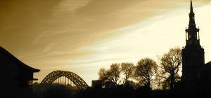 Tyne Bridge from Sandgate Silhouette Sepia - Newcastle Gateshead Quayside