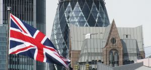 British flag and the Gherkin, London