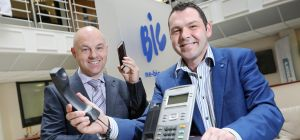 Paul McEldon, Chief Executive of the BIC (right) and Keith Rowe at the launch of BIC Telecom