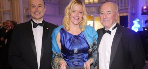 Pictured (l-r) with the award are: Chris Marsland; Clare Burns, Marketing Manager for ENER-G; and P