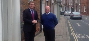 Peter Gibson (left) and Mingus Menzies Baird outside the new Coles Solicitors office in Beverley