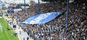 Sheffield Wednesday flag in the home end at Hillsborough