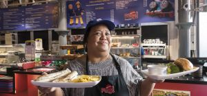 Rowena Jackson, the new catering manager at Mattel Play! Liverpool, with items from the attraction's