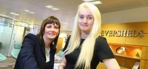 Gateshead College student Beth Quinn (right) and Shirley Wright, Partner and Head of the Eversheds N