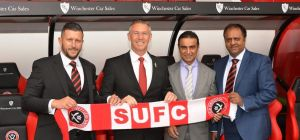 Sheffield United Head of Commercial Paul Reeves, Sheffield United Manager Nigel Adkins, and Winchest