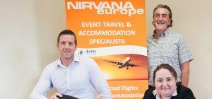 Nigel Morris (l) and Ken Morris of Nirvana Europe with Hazel Smith of UNW