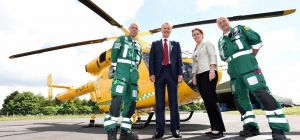 HIGH FLYERS: Pictured (L to R) in front of Lincolnshire and Nottinghamshire Air Ambulance Charitable