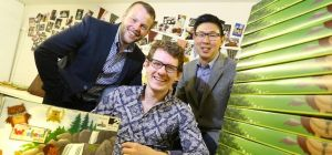 Richard Charnley (Northstar Ventures), Andy Stephenson (seated Weekend Box) and Mark Yeung (Weekend