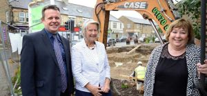 On site at Front Street, Prudhoe (L-R) Vince Walsh from Isos alongside Coun Anne Dale and Coun Eilee