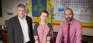 Synthite's Keith Polden, student Morgan Nancarrow and teacher Andy Rees.
