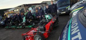 The Beaumont Grounds Maintenance team with some of their equipment at their site on Aycliffe Busines
