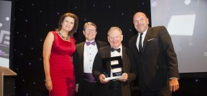 Winner of the Lifetime Achievement award, Geoff Turnbull (third left) with event host Julia Hartley-