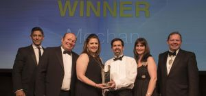 Mechan's team collects the firm's Made in Sheffield Award. Left to right: Lee Bhandal from sponsor,