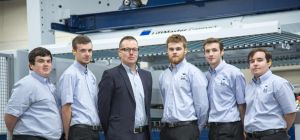 (l-r) Chris Bell, Rhys Burley, Andy Whittaker (Engineering & Quality Director), Rhys Burley,Josh Ya