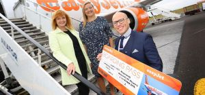 easyJet UK Commercial Manager Ali Gayward, easyJet UK Commercial Director Sophie Dekkers and Newcast