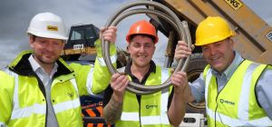 Robbie Bentham, plant director at Banks Mining, with Dane Middlemiss and Kevin Monaghan of Pirtek Ty