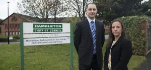 LEGAL SIGN: Pictured outside Hambleton District Council offices, Northallerton, are Harrowells Solic