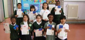 Pupils with their awards