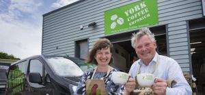 Laurence and Philippa Beardmore outside their premises at London Ebor Business Park, York,  which Yo