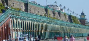 The colonnade and lift at Madeira Drive, Brighton, City of Brighton and Hove, England. Photo: Hassoc