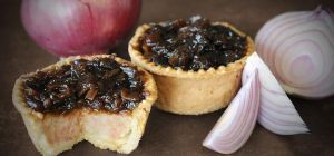 The Topping Pie Company's caramelised red onion topped Dinky pork pie