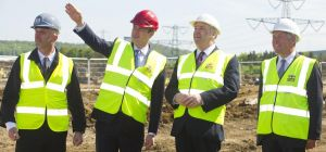 l to r Martin Kendall of Vantec Europe, James Wharton, Northern Powerhouse minister, Cllr Paul Watso