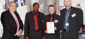 Members of the team receive their award from BSIA Director, Trevor Elliot