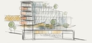 Sketch of Sheppard Robson's Conference and Learning Centre