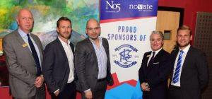 Pictured at last night's partnership launch are, from left: Michael Duck QC from No5; Blues manager