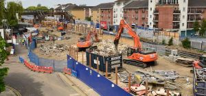 Network Rail has demolished the former station building at Abbey Wood, South East London