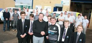 David Smailes with Peter Beardsley and students from James Calvert Spence School, as well as Smailes
