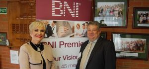 Jo Hand, who runs Jo Hand Recruitment, and Paul Good, Chapter Chairman of the BNI