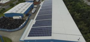 Rooftop view of the Bignall Group's solar photo-voltaic energy system.