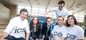 (l-r) Professor David Balmforth with pupils Sophie Bate and Caitlyn Towers, Tim Cutter (zombie), Jen