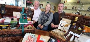 Tony Cleary and Ruth Peyton of Lanchester Gifts with Ian Spicer, managing director of Spicers Of Hyt