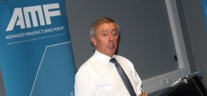 Dennis Clark OBE, of OGN Group, speaks at the Advanced Manufacturing Forum meeting.
